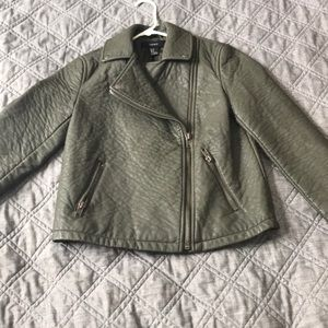 Army Green Pleather Coat